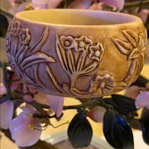 Vintage engraved flower bone bangle